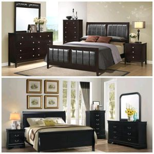 Brand New Queen Size Bedroom Sets $699 Includes Queen size headboard, footboard, slats, side rails, dresser, mirror and nightstand $699 for Sale in Richmond, VA