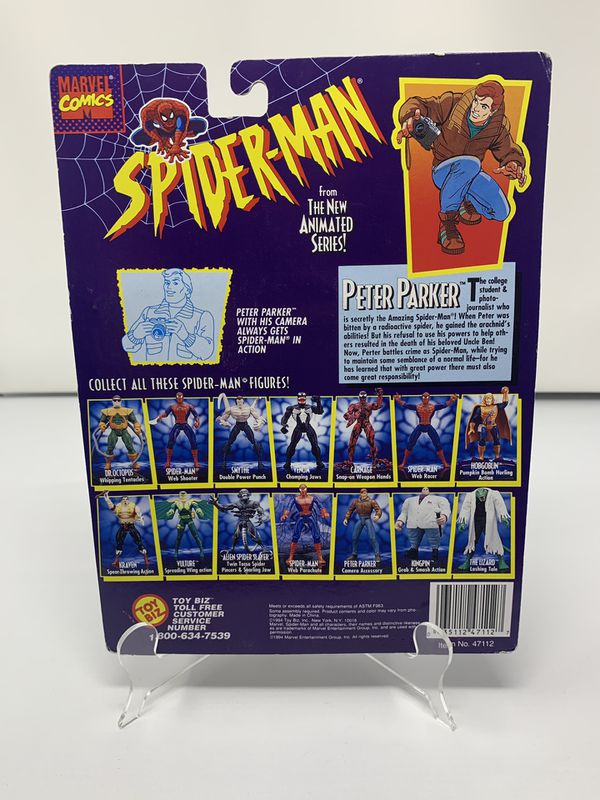 Vintage Peter Parker w/ Camera accessory Action Figure from the 90's Spider-Man The Animated series (Brand New)
