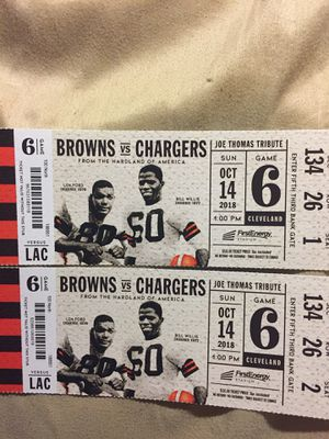 Browns vs Chargers tickets October 14 for Sale in Tallmadge, OH