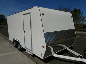 """Enclosed trailer 16' x 8.5' x 7' custom made with 36"""" RV side door, 6'6"""" tall ramp, side step, chrome trim and LED lights. 7,000# GVWR. for Sale in Irvine, CA"""