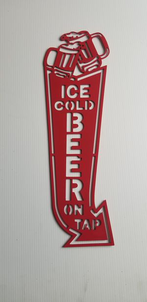 Ice Cold Beer On Tap CNC Plasma Cut Wal Art Man Cave Sign for Sale in Acworth, GA