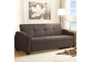 Brand new brown leather or grey linen sofa futon with cup holders for Sale in San Diego, CA