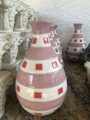 Pink/white vases and green/gold candle holders for Sale in Bakersfield, CA