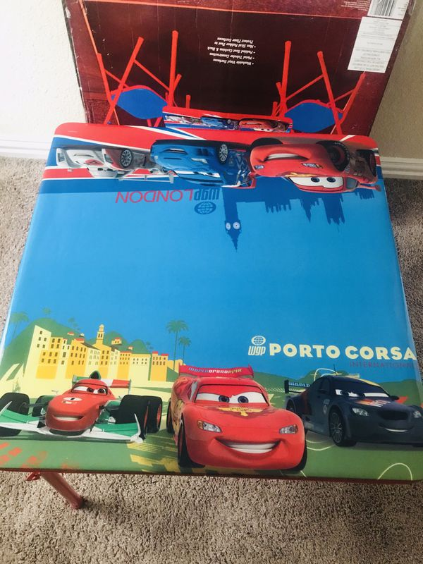 Cars kids table and 2 chairs- excellent condition
