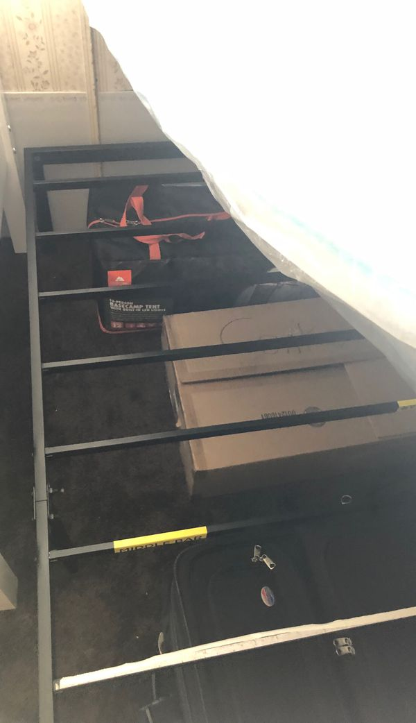 Twin mattress and twin size frame for sale $125 is what I'm asking. My two-year-old son had it but I got him a bigger bed now that he's got his own r