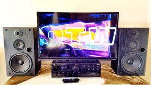 """32"""" Vizio HD tv, Roku, Vintage Optimus speakers, JVC receiver for Sale in Englewood, CO"""