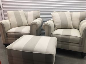 Macy's Martha Stewart Collection Club Chairs and Ottoman. for Sale in Portland, OR