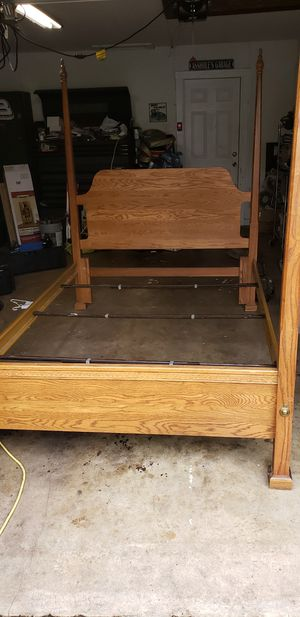 Queen or double bed frame oak and metal for Sale in Longview, TX