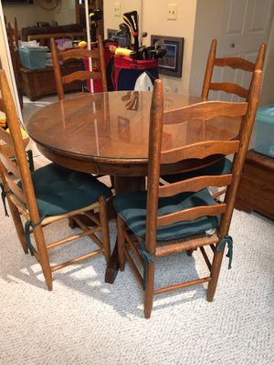 Hickory topped round table with ladderback chairs for Sale in Vienna, VA