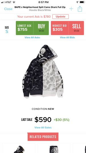 Bape x Neighborhood full zip shark hoodie Sz S DSWT for Sale in Sunnyvale, CA