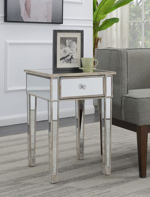 Convenience Concepts Gold Coast Mirrored End Table with Drawer,Weathered White for Sale in Houston, TX
