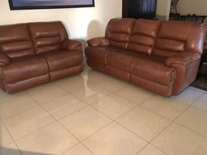 Beautiful brown leather recliner sofa very comfortable and nice for Sale in Henderson, NV