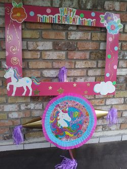 Unicorn party Bundle, Pinata + Frame for Sale in Houston,  TX