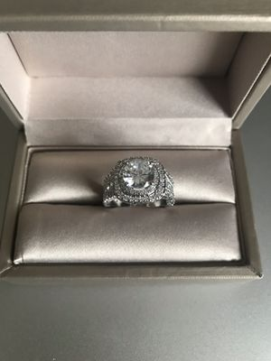 14K white over 925 stamped sterling silver with white sapphire and simulated diamonds promised engagement ring size 6 for Sale in Itasca, IL