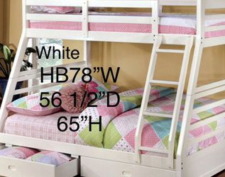New All Wood Twin-Full Bunkbed W/Drawers & New Mattresses Included for Sale in Fresno,  CA
