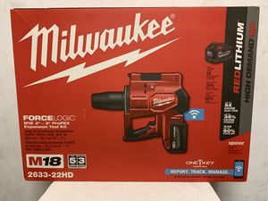 """Milwaukee M18 One-Key 18-Volt Lithium-Ion Cordless Force Logic size 2""""- 3"""" ProPEX Expansion Tool Kit with 2 Batteries 9.0 Ah for Sale in Hayward, CA"""