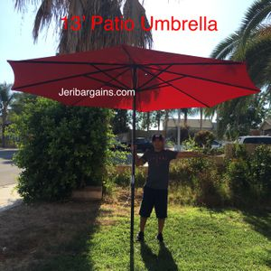 New 13' HUGE MASSIVE Patio Umbrella Red Canopy Shade Pool Deck UV (BASE NOT INCLUDED!) for Sale in Riverside, CA