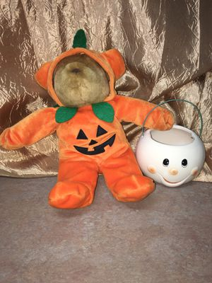 Halloween teddy bear plush in pumpkin costume w/ ghost bucket for Sale in El Mirage, AZ