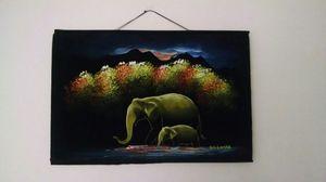Black Velvet Painting Hand Painted Sri Lanka Elephant Vintage Folk Art for Sale in Adelphi, MD