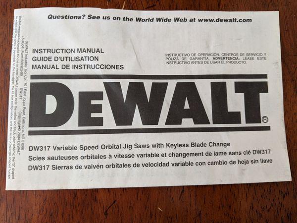 DeWalt Variable Orbital Jig Saws with Keyless Blade Change