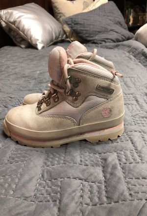 Pink and grey girl size 10 timberland boots for Sale in Gerrardstown, WV