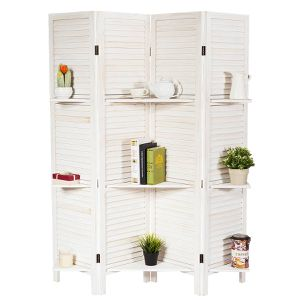4 Panel Folding Room Divider Screen with 3 Display Shelves for Sale in Cutler, CA