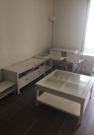 Full white Ikea furniture for sale (coffee table, two bar stools, 3 outdoor chairs, TV table, 2 bed drawer, desk, shoes stool) for Sale in Arlington, VA