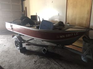 12 Foot Aluminum Fishing boat with trailer no motor for Sale in Portland, OR