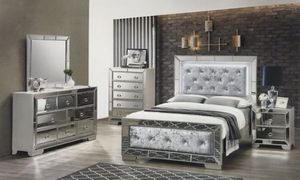 Brand new queen diamond velvet mirror bedroom set 4 pc bed frame dresser mirror and 1 nightstand Financing available no credit needed for Sale in Deerfield Beach, FL