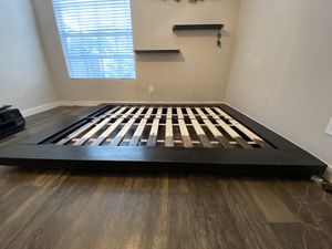 Queen Bed Frame + Side Table for Sale in Tampa, FL