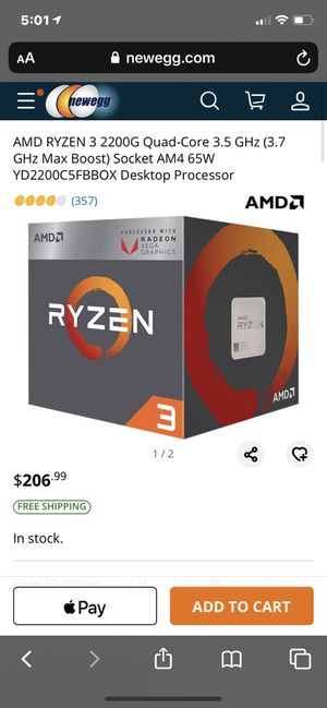 Ryzen 3 2200g & fan gaming CPU for Sale in Rochester, NY