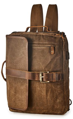 Vintage Waterproof Waxed Canvas Convertible Laptop Messenger Backpack Men Women BRASS TACKS for Sale in Los Angeles, CA
