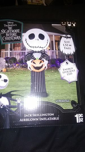 Jack skellington airblown inflatable Tim Burton's The nightmare before Christmas Halloween decoration for Sale in Fresno, CA