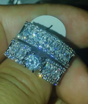 18k White gold filled CZ wedding engagement ring size 7+ box for Sale in Los Angeles, CA