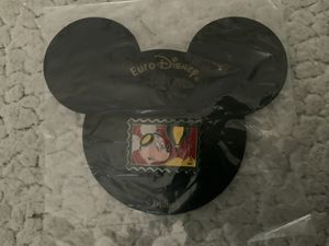 New MINT CONDITION. Mickey Mouse Euro Disney Metal Enamel Postage Stamp Lapel Pin Pinback 1992 Walt Disney in Original packaging for Sale in Henderson, NV