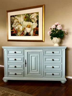 Refinished solid wood dresser entryway table entry table tv stand buffet for Sale in Glendale, AZ