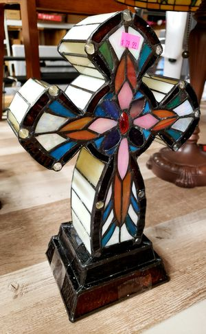 NEW Stained Glass Style Cross Lamp: njft home decor hsewres for Sale in Burlington, NJ