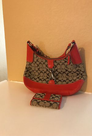 Orange Coach purse and wallet for Sale in Houston, TX