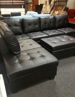 Brand New Black Faux Leather Sectional Sofa Couch +Storage Ottoman for Sale in Silver Spring, MD