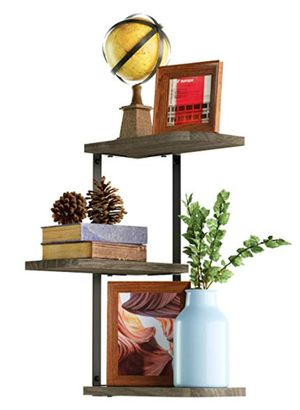 Love-KANKEI Corner Shelf Wall Mount-3 Tier Rustic Wood Floating Shelves- Weathered Grey! Brand New! for Sale in Ridgecrest, CA