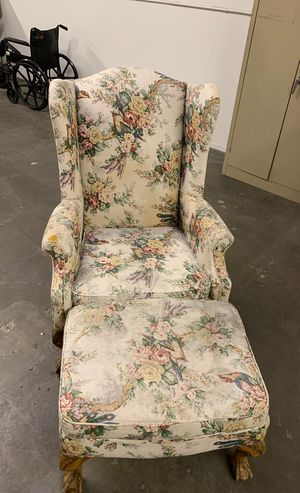 Antique Wingback Chair and Ottoman for Sale in Santa Ana, CA