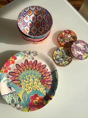 Anthropologie set of plates, bowls & coasters for Sale in Washington, DC