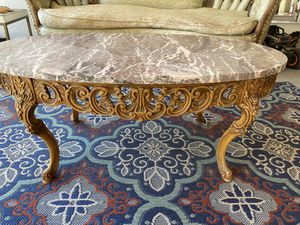 1920's antique wood carved marble coffee table for Sale in Glendora, CA