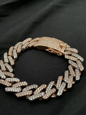 Two tone prong set iced out Cuban link bracelet for Sale in Sunrise, FL