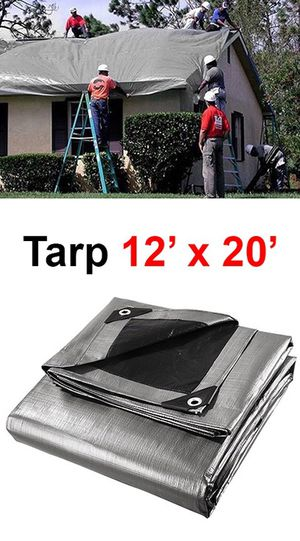 (NEW) $25 Heavy Duty 12'x20' 10mil Canopy Poly Tarp Reinforced Tent Car Boat Cover Tarpaulin for Sale in South El Monte, CA