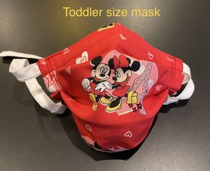 Handmade (Disney) Mickey & Minnie Mouse Toddler face mask fits 2 to 3 years old with Adjustable ear straps and nose wire for Sale in Fontana, CA