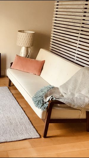 Modern /Scandinavian style white leather couch (real white leather) and wood couch for Sale in San Francisco, CA