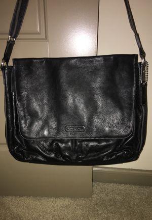 Coach classic black leather messenger bag for Sale in Nashville, TN