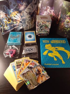 Pokemon card 100 card lot 3 holos 1 rare Sleeves Energy Pack Deckbox Dice Counter Booklet Poster all for $20 for Sale in Orange, CA