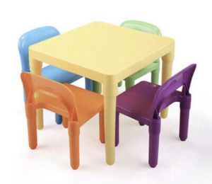New Kids Table and 4 Chairs Play Set Toddler Child Rainbow Plastic Chair Toy for Sale in Ontario, CA